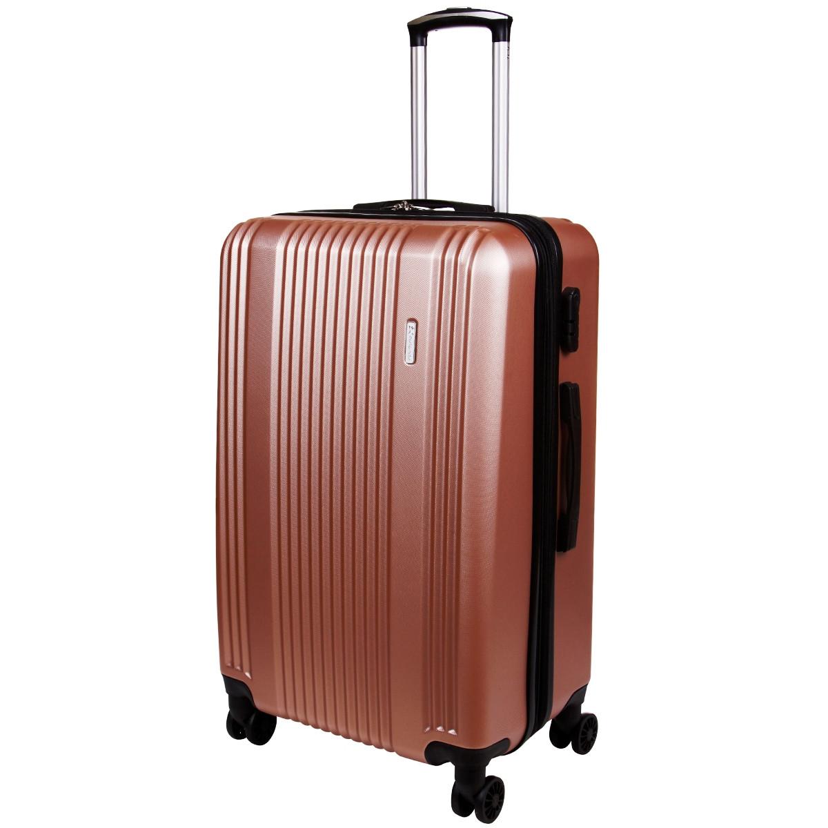 Чемодан OULANDO большой с расширением розовый пластик ABS 4 колеса 47х70х30(+3)  ксЛ516-28роз