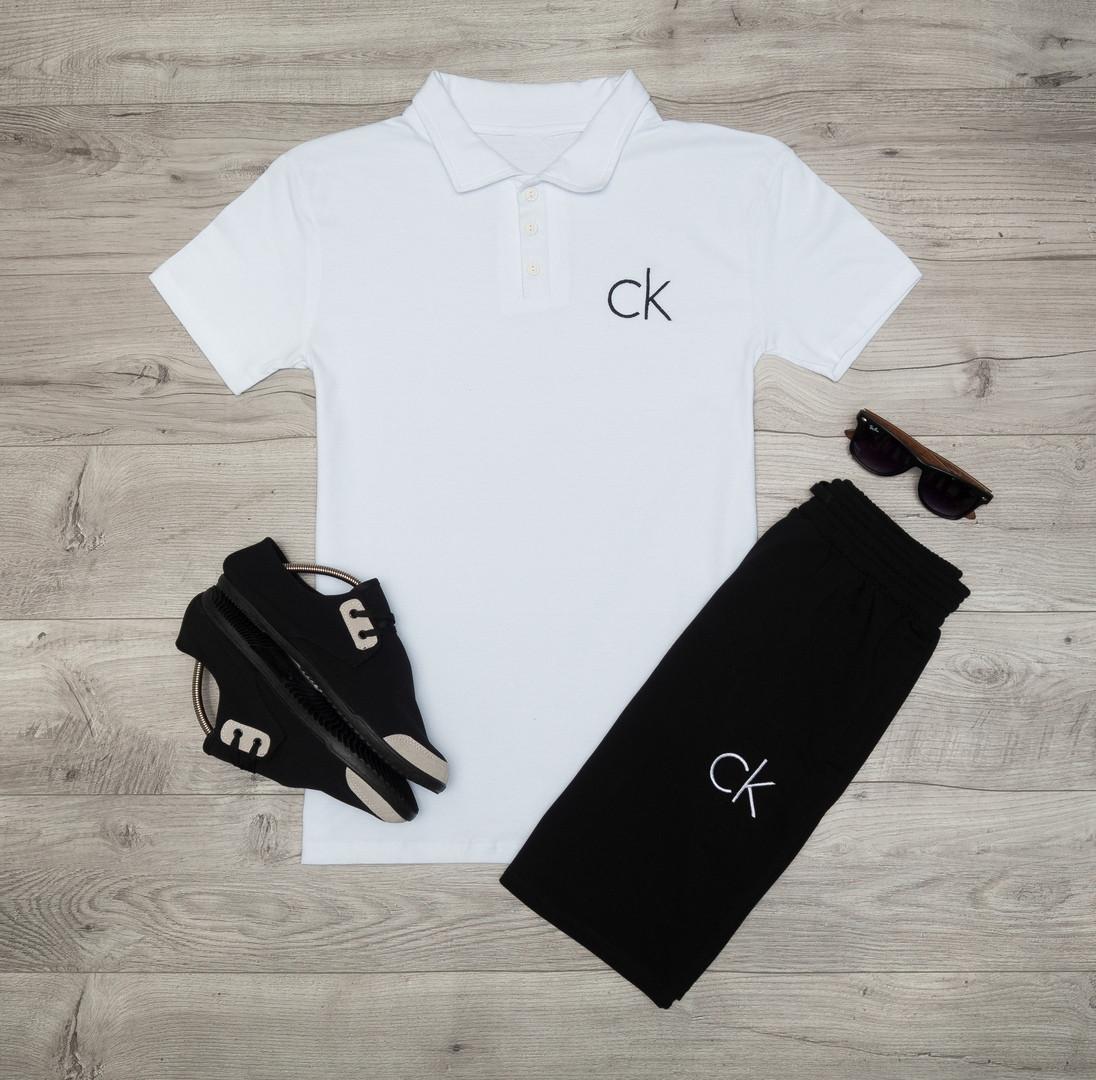 Мужская футболка (поло) в стиле Calvin Klein белая (L размер)
