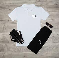 Мужская футболка (поло) в стиле Calvin Klein белая (S, M, L, XL размеры)