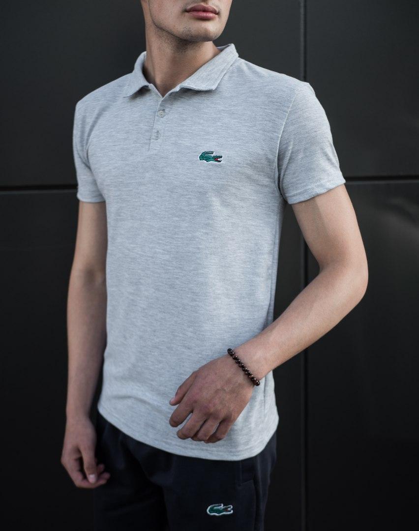 Мужская футболка (поло) в стиле Lacoste серая (S, M, L, XL, XXL размеры)