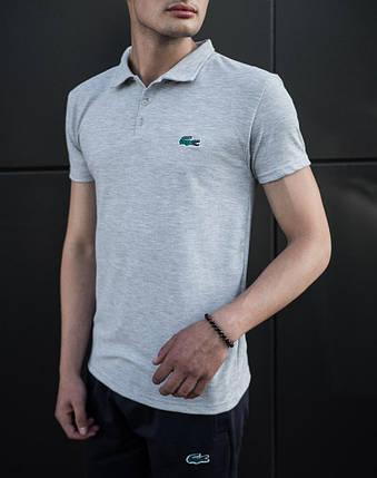 Мужская футболка (поло) в стиле Lacoste серая (S, M, L, XL, XXL размеры), фото 2