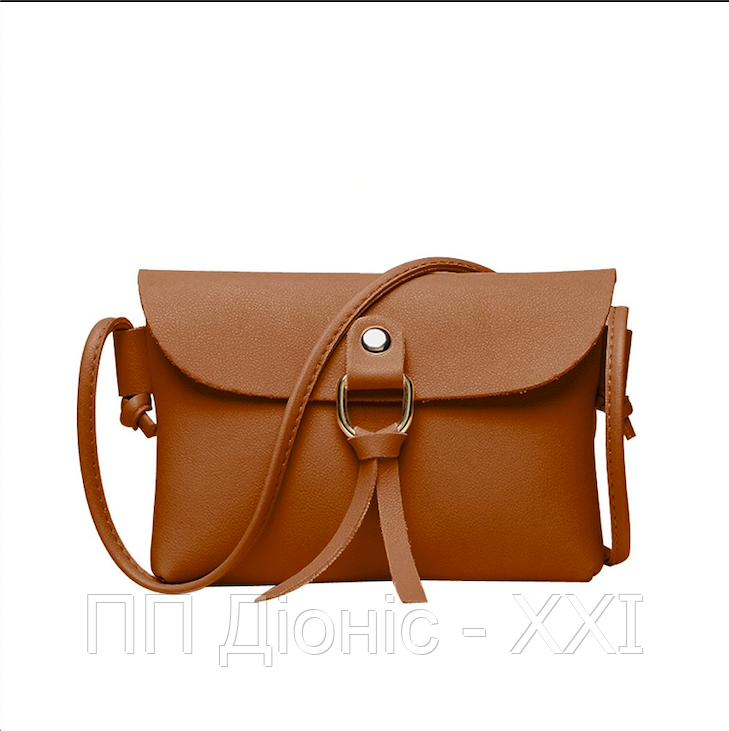 Маленькая женская летняя ретро сумка коричневого цвета