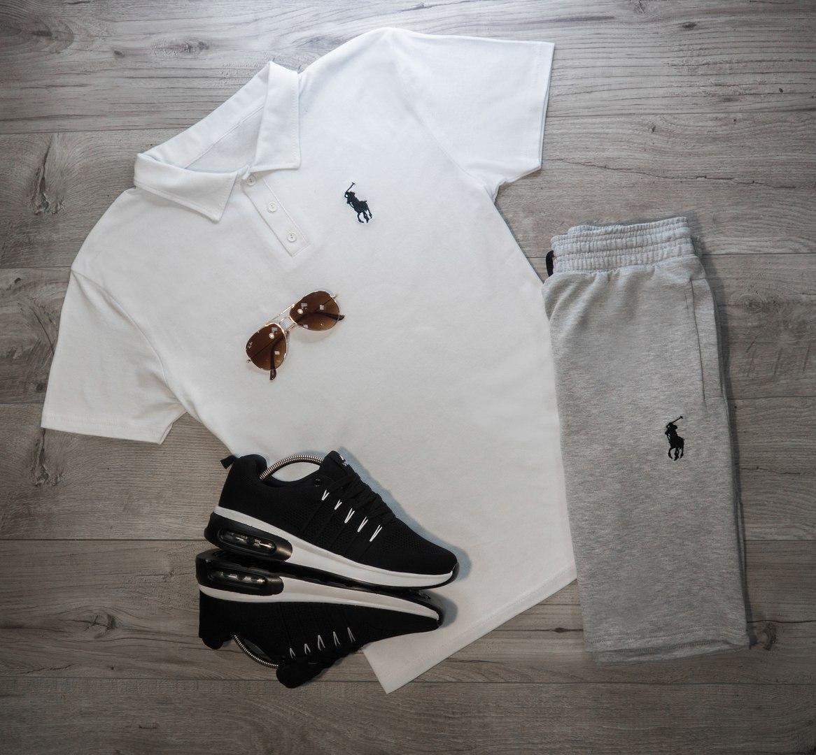 Мужская футболка (поло) в стиле Polo Ralph Lauren белая (S, M, L, XL размеры)