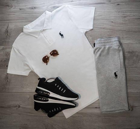 Мужская футболка (поло) в стиле Polo Ralph Lauren белая (S, M, L, XL размеры), фото 2