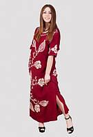 Эффектное женское платье в пол  с модным принтом из натуральной ткани