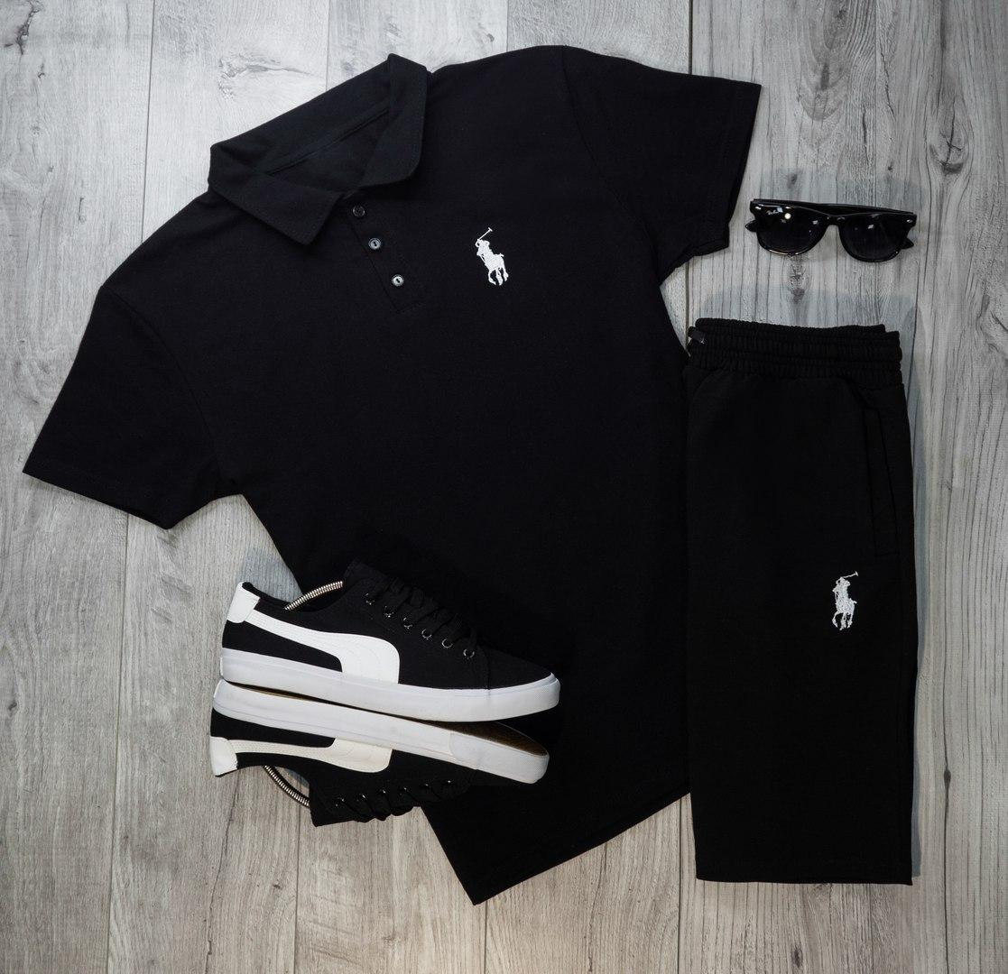 Мужская футболка (поло) в стиле Polo Ralph Lauren черная (S, M, L, XL размеры)