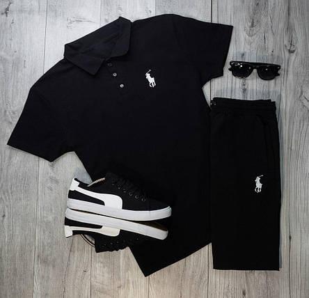 Мужская футболка (поло) в стиле Polo Ralph Lauren черная (S, M, L, XL размеры), фото 2