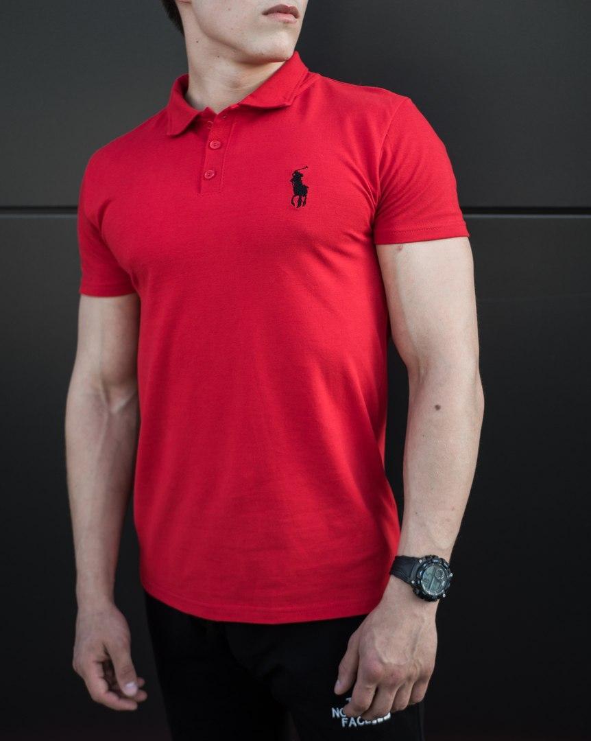 Мужская футболка (поло) в стиле Polo Ralph Lauren красная (S, M, L, XL размеры)