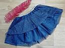 Нарядная пышная фатиновая юбка с блестками и золотистым пояском  H&M (Англия) (Размер 6-8Т), фото 3