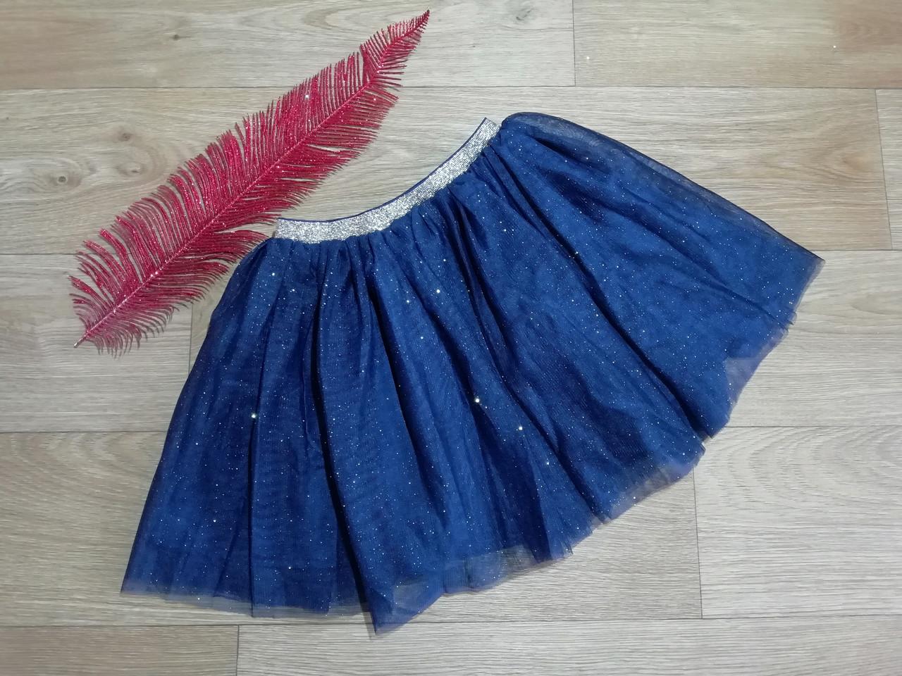 Нарядная пышная фатиновая юбка с блестками и золотистым пояском  H&M (Англия) (Размер 6-8Т)