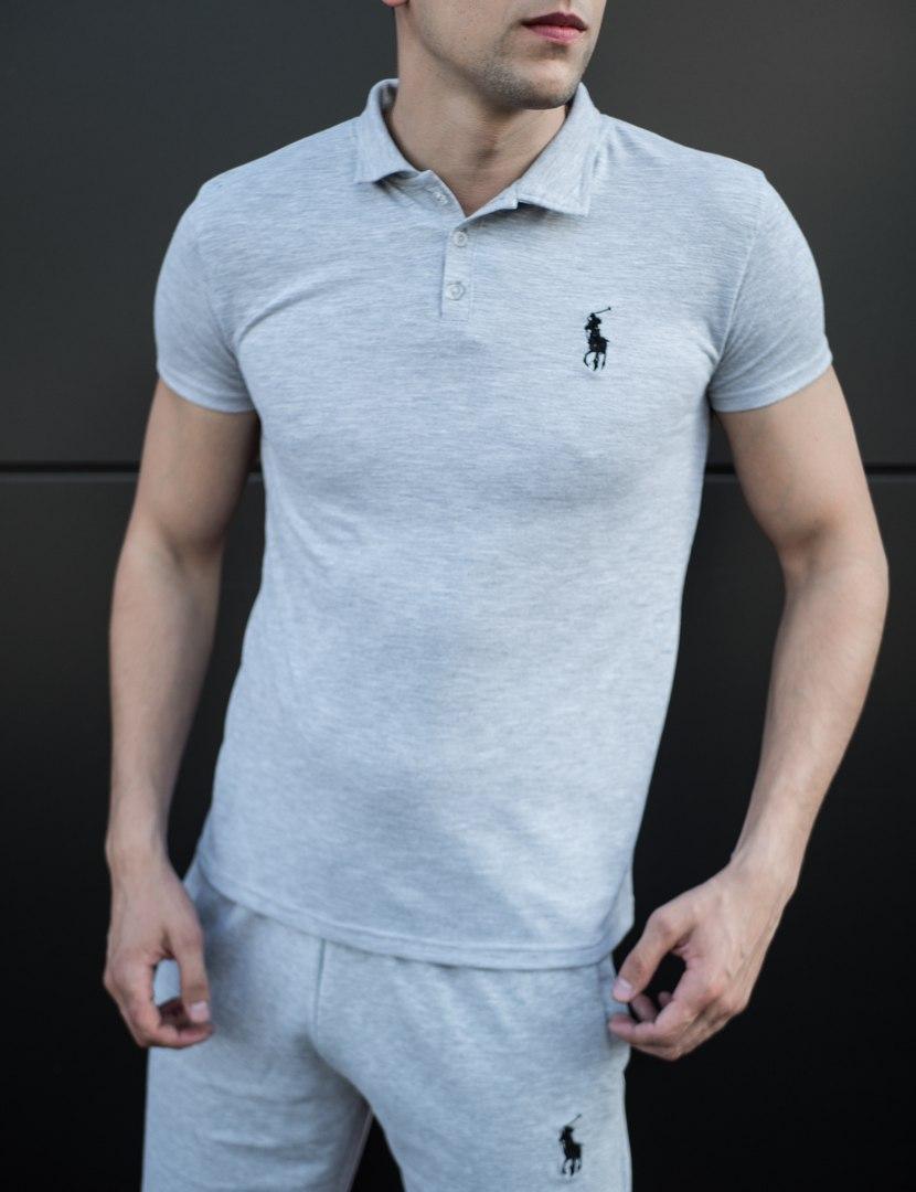 Мужская футболка (поло) в стиле Polo Ralph Lauren серая (S, M, L, XL размеры)