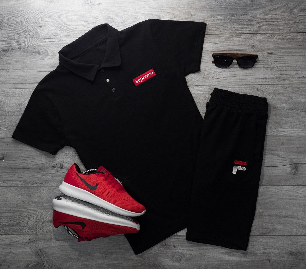 Мужская футболка (поло) в стиле Supreme черная (L, XL размеры)