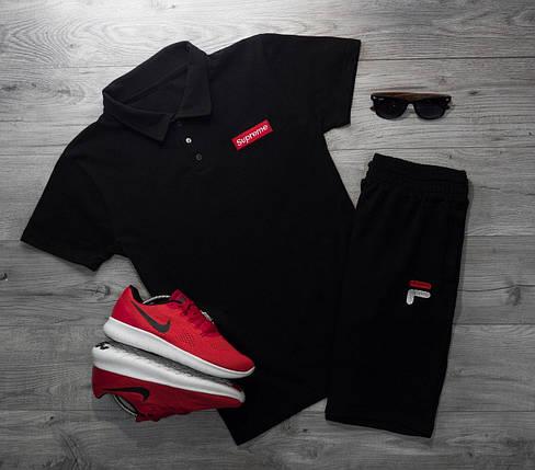 Мужская футболка (поло) в стиле Supreme черная (L, XL размеры), фото 2