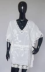 Туника женская из натуральной ткани с растительным принтом