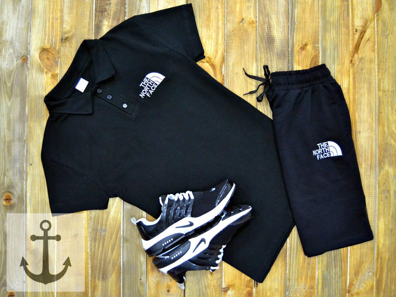 Мужская футболка (поло) в стиле The North Face черная (L, XL размеры)