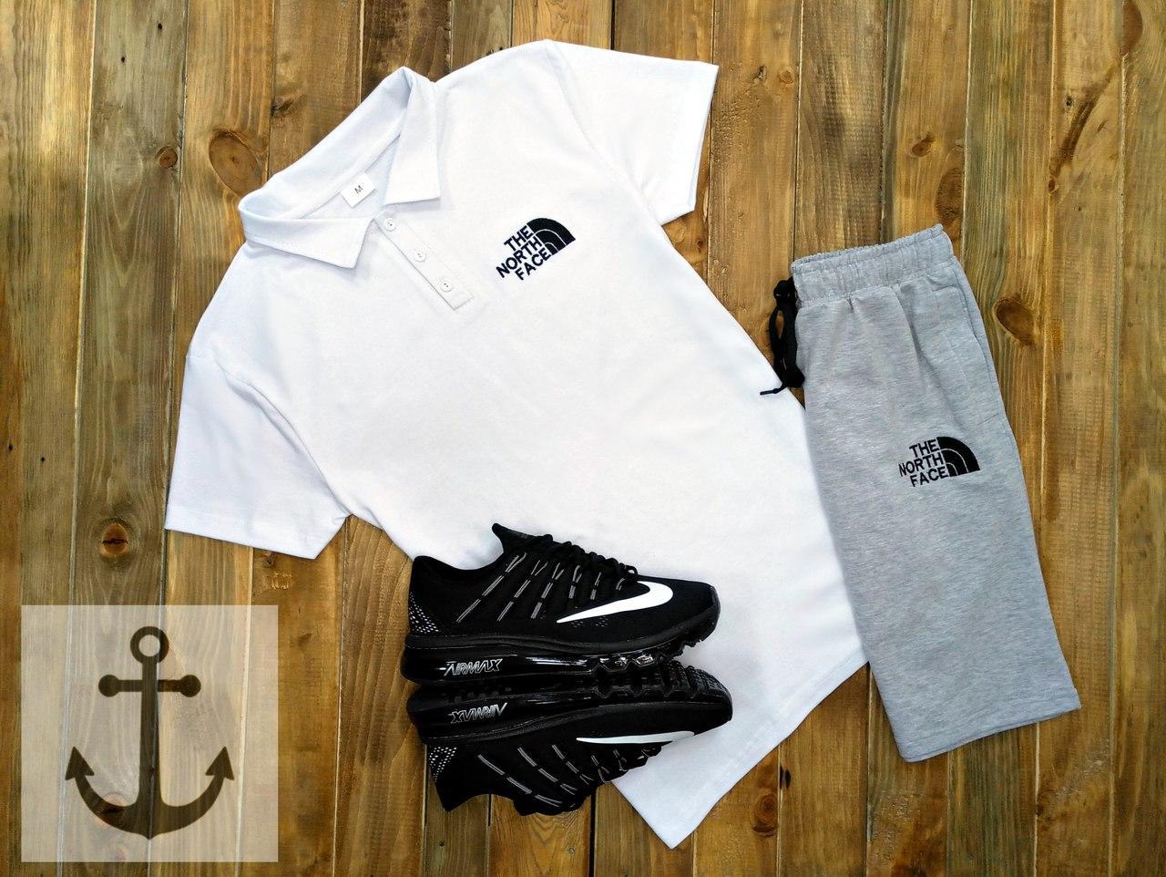 Мужская футболка (поло) в стиле The North Face белая (S, M, L, XL размеры)
