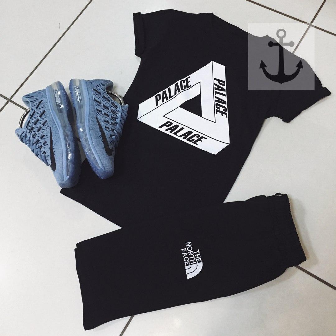 Мужская футболка в стиле Palace черная (L, XL размеры)