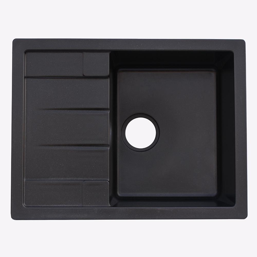Гранитная мойка Platinum 6550 черная (брак№763)
