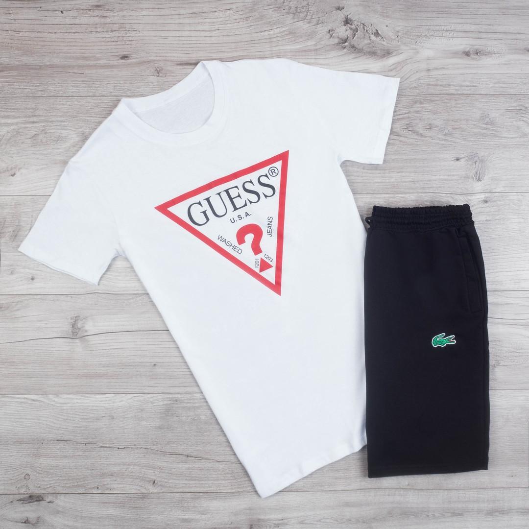Мужская футболка в стиле Guess белая (S, L, XL размеры)
