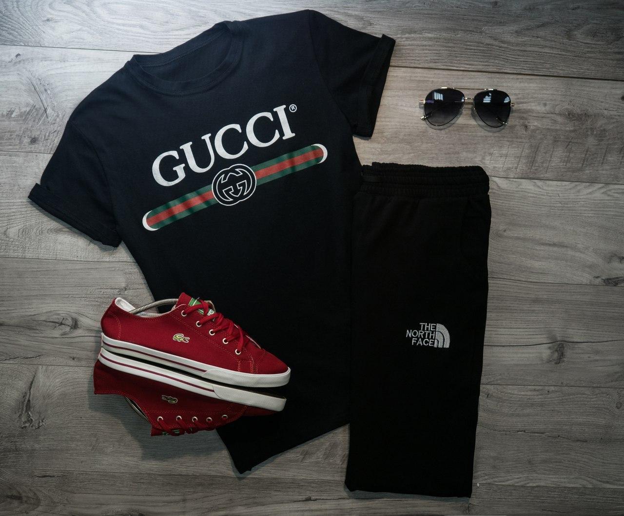 Мужская футболка в стиле Gucci черная (L, XL размеры)