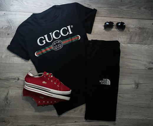Мужская футболка в стиле Gucci черная (L, XL размеры), фото 2