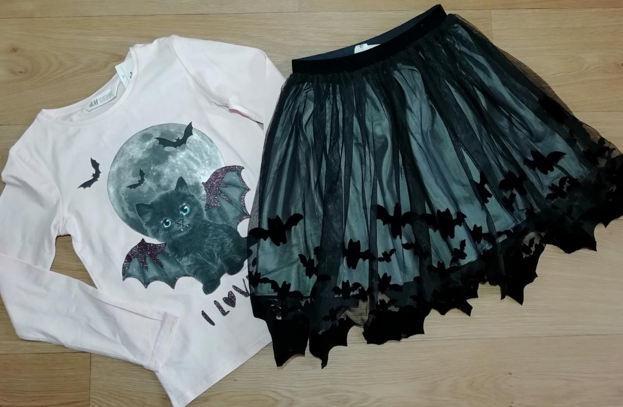 Комплект двойка реглан и юбка кот летучая мышь H&M (Англия) (Размер 6-8Т)