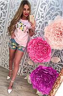 Стильный женский джинсовый костюм с шортами, 211-121