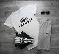 Мужская футболка в стиле Lacoste белая (L размер)