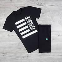 Мужская футболка в стиле Lacoste черная (L размер)