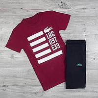 Мужская футболка в стиле Lacoste бордовая (S, L, XL размеры)