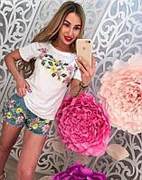 Стильный женский джинсовый костюм с шортами, 211-121-1