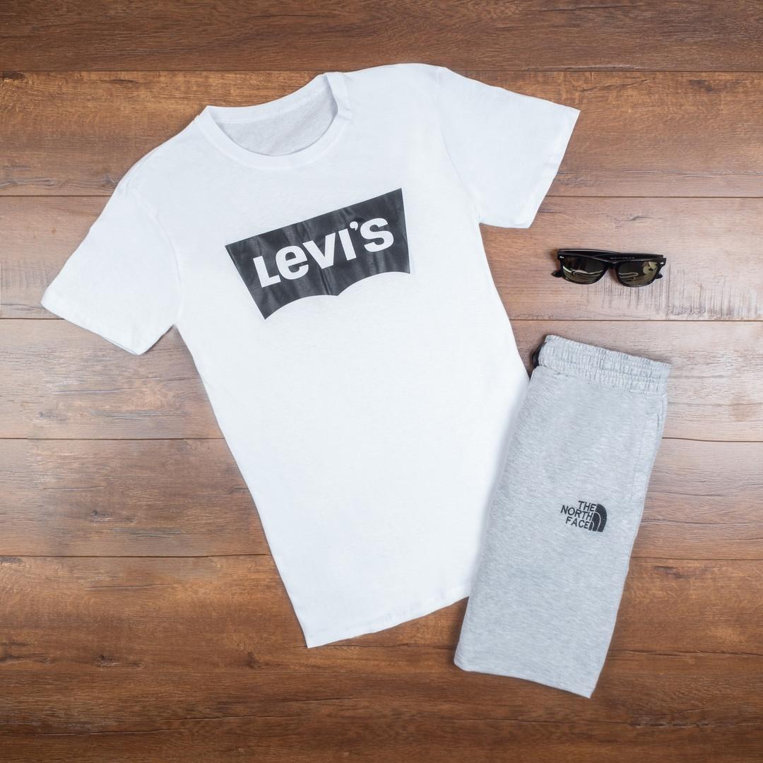 Мужская футболка в стиле Levi's белая (S, M, L, XL размеры)