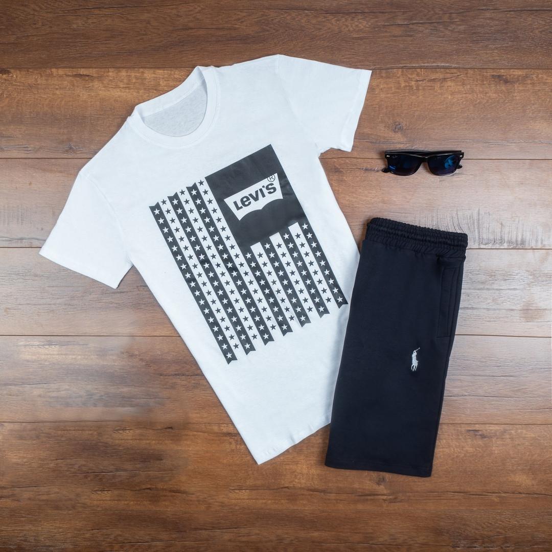 Мужская футболка в стиле Levi's белая (L, XL размеры)