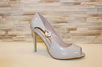 Туфли летние женские серые лаковые на каблуке код Б202