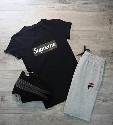 Мужская футболка в стиле Supreme черная (L, XL размеры), фото 2