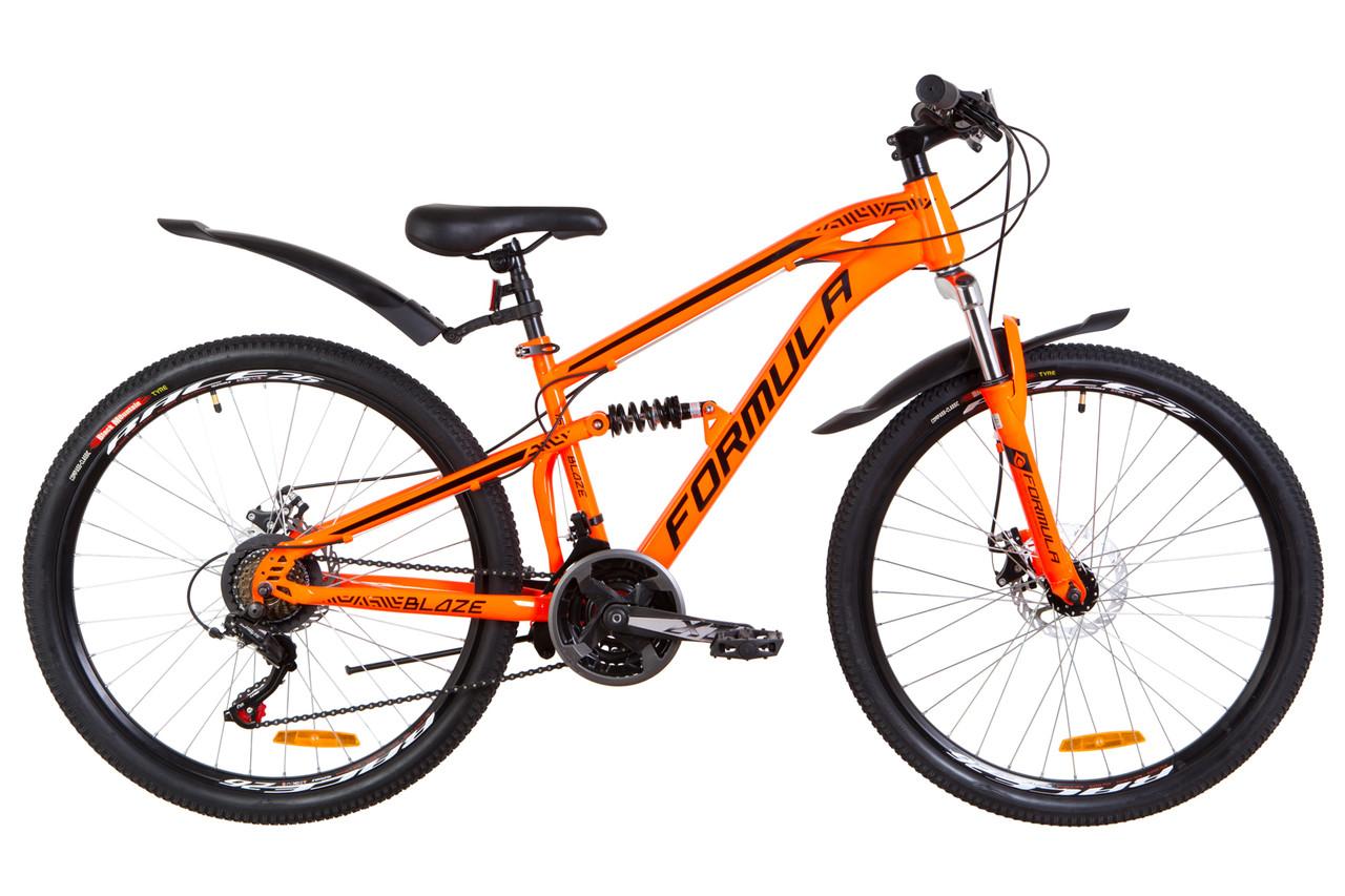"""Велосипед подростковый горный, двухподвес 26"""" Formula BLAZE DD 2019 (рама 15"""", оранжевый)"""