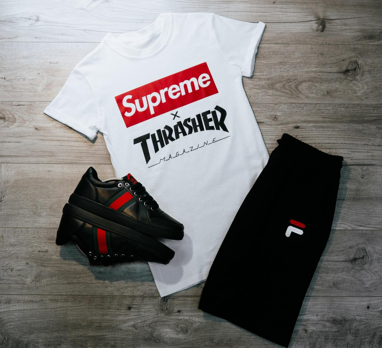 Мужская футболка в стиле Supreme белая (L, XL размеры)