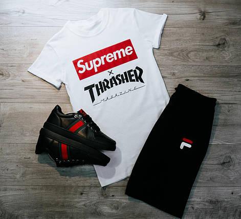 Мужская футболка в стиле Supreme белая (L, XL размеры), фото 2