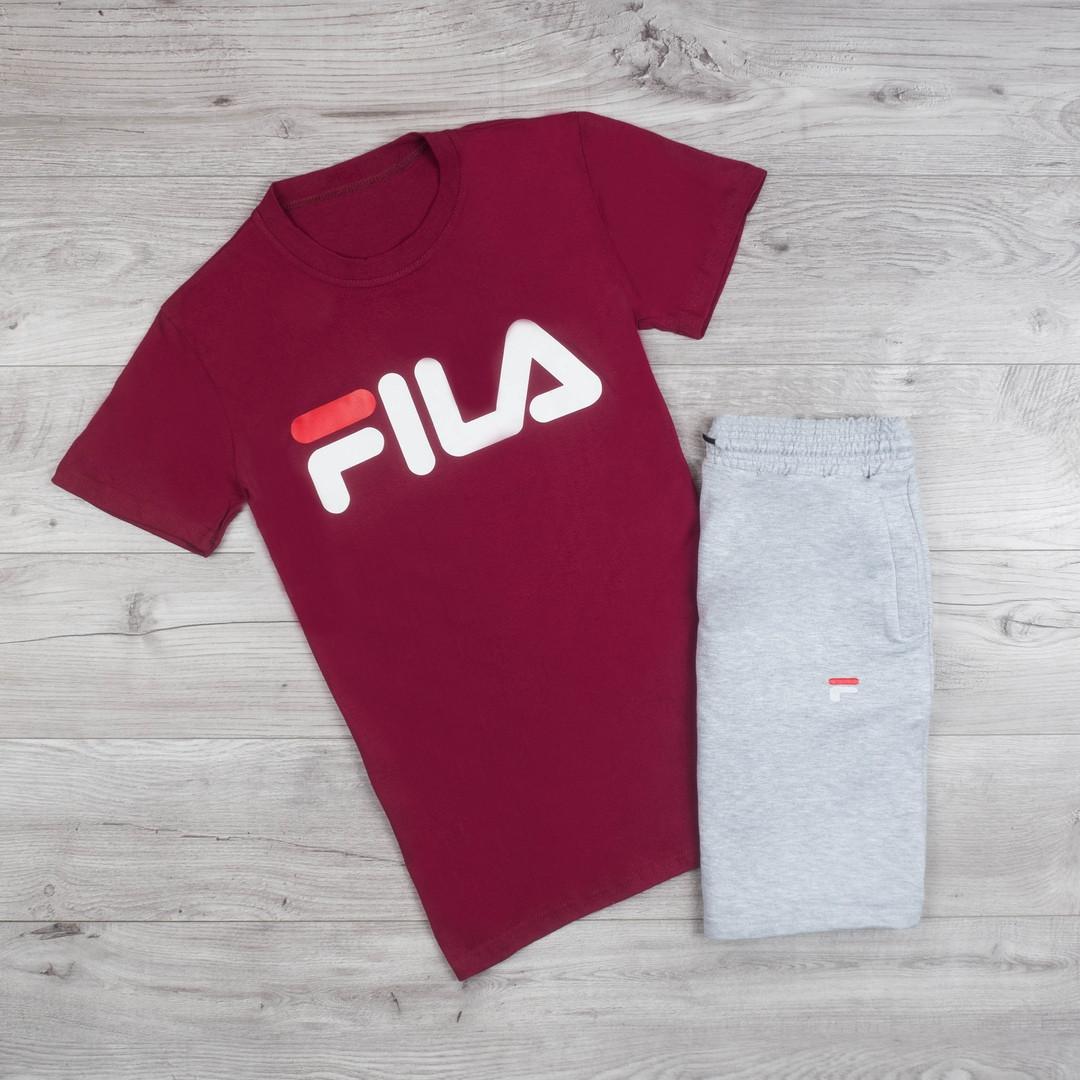 Мужская футболка в стиле FILA бордовая