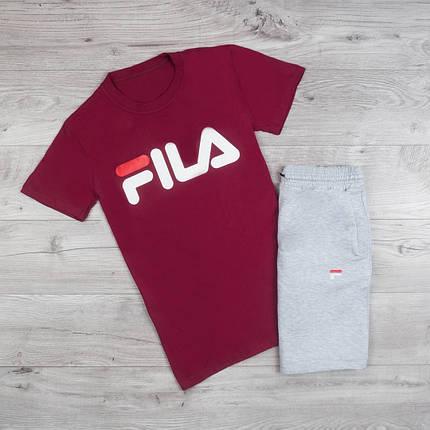 Мужская футболка в стиле FILA бордовая, фото 2