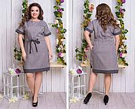 Женское батальное льняное платье свободного кроя (бежевый). Арт - 2503/49, фото 1