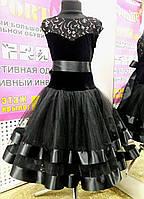 """Платье танцевальное (бейсик) """"Стелла-элит-люкс"""",р.152-158(42) (черный)"""
