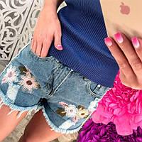 Стильные женские джинсовые шорты, синие, 211-1105, фото 1