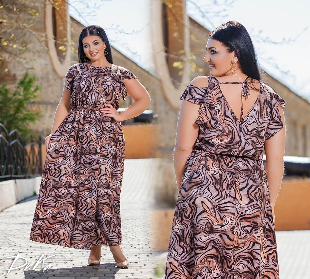 Красивое Длинное платье с вырезами на плечах  пр-во Турция  50-52,54-56  Цвет -  на фото