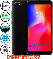 Смартфон Xiaomi Redmi 6A 2/16Gb MIUI 10 Black 4G (Global)+защитное стекло в подарок