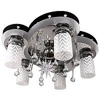 """Люстра потолочная """"Космос"""" с цветной LED подсветкой и автоматическим отключением с пультом (19х47х47 см.) Черный, хром YR-5530/5+1"""