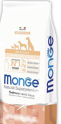 Корм Monge All breeds Puppy Junior Salmon & Rice Монж Паппі Юніор для цуценят всіх порід 15 кг