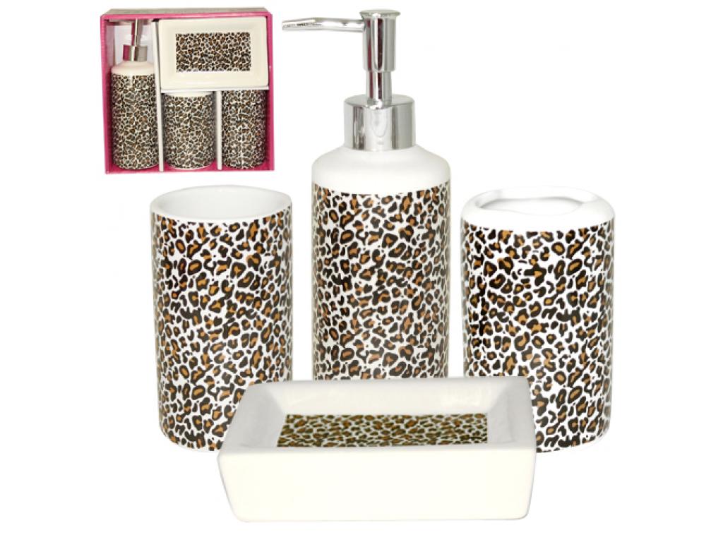Набор аксессуаров для ванной комнаты 4пр. S&T Леопард 888-06-014 S&T