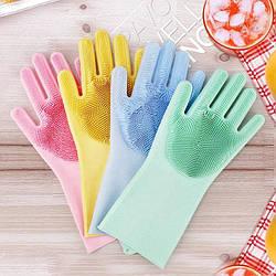 Силиконовые перчатки для мытья и чистки посуды, поверхностей MAGIC SILICONE GLOVES