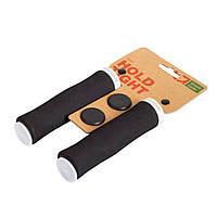 Грипсы Green Cycle GC-G224 130mm вспененная резина, эргономичные, черные с одним белым замком